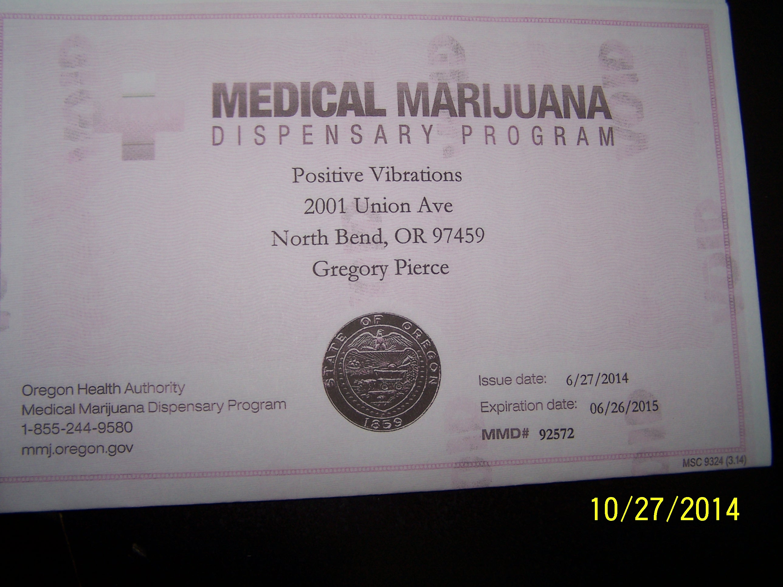 Oregon Medical marijuana License